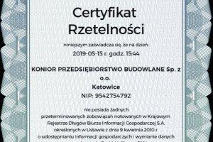 Otrzymaliśmy Certyfikat RZETELNA FIRMA